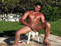 Sweet gay guys having nice group sex in garden