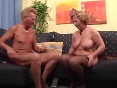 Old woman gives a blowjob to old man and rides his dick porn video