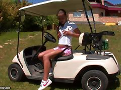 Cute Beauty Victoria Sweet Masturbates Outside on a Golf Cart