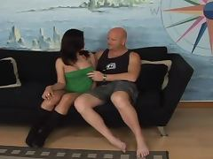Brunette shemale and a bald guy suck and ride each other's cocks
