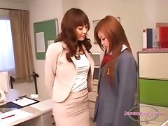 Busty Teacher Getting Her Nipples Sucked Hairy Pussy Licked By Schoolgirl On The Desk In The Office