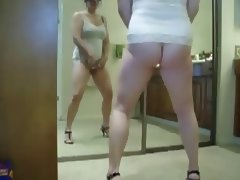 Chubby wife standing and cumming porn video