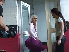 Blonde and Brunette Engaged In Arousing Catfight