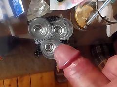 cumshooting in 3 shot glases