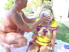 Hardcore blonde Carolyn Reese being drilled with force
