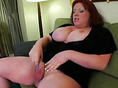 BBW Shemale whoops out her cock and rubs it