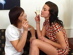 Drinking, Boobs, Brunette, Drilled, Drinking, Facial