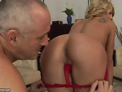Horny milf gets naked with an old man and gets balled