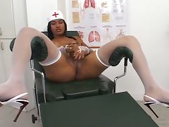Sexy big tits transsexual nurses fucks her patient