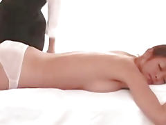 Asian lesbian massage for a threesome