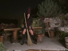 Chick In Witch Costume Fingers Her Pussy