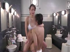 Japanese chick rides her man's hard prick in a sauna