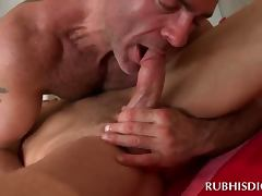 Gay masseur gets his pierced dick blown in sixtynine