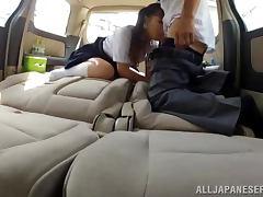 Sweet Japanese girl in school uniform gets fucked in a car