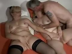 Two mature German blondes get their vags licked and drilled by some dude