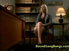 Busty blonde bdsm gangbang fucked in bar