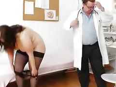 Big breasted matured ob gyn exam