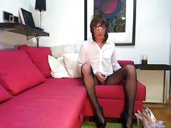 Fishnet stockings mini skirt