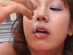 Sexy pigtailed Asian babe is swallowing down loads of sperm