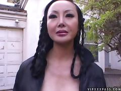 Lusty Asian babe Ange Venus takes it double