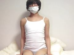 Cute Japanese Sissy Anal Massage and Cum