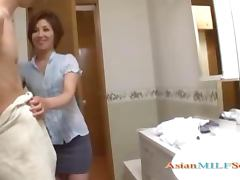 Milf Sucking Young Guy Cum To Mouth Spitting To Palm In The Bathroo