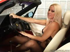 Expensive sport cars drive this blonde mad horny