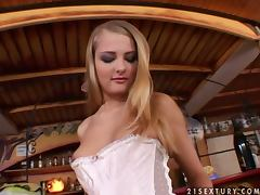 Beautiful blonde Olivya licks a dildo and toys her pussy