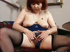 Dirty old mom getting all horny rubbing