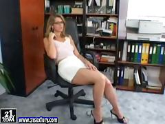 Secretary, Glasses, Masturbation, Pussy, Secretary, Toys