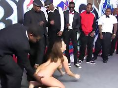 Black cock gang bang blowjob slut