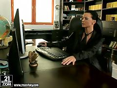 Business lady gets bored and starts going solo