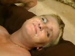 Chubby mature lady puts one some erotic undies and gets nailed