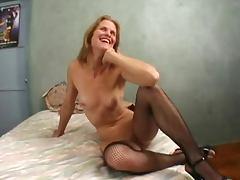 Two Cocks In Skinny Mature Dawndi's Cunt
