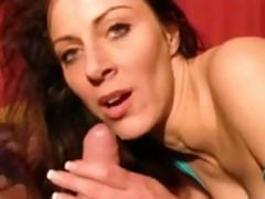 Busty German brunette is sucking and riding on his hard cock
