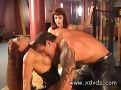 Hot Redhead In Leather And Fishnet Aria Takes Out Man From His Cage To Fuck Her