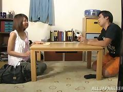 Nice Japanese girl gives great blowjob and handjob combo