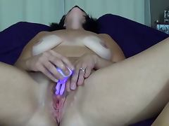 Amateur wife masturbates to orgasm