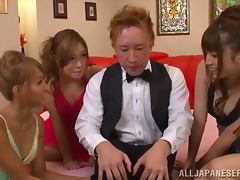 Lucky Japanese guy gets his cock sucked by three sexy chicks