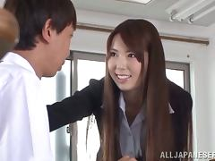 Office cutie Sophia Takigawa gives a hot blowjob to her boss