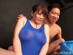 Busty Japanese in a swimsuit gets nailed on the floor