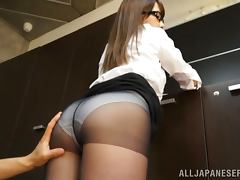 Hot Ayaka Tomoda Teases Through Her Oily Pantyhose