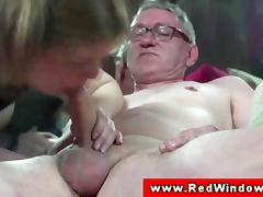 Real dutch hooker cumswaps with old man porn video