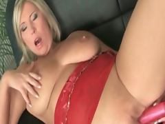 Hot blonde big titted milf dildoing porn video