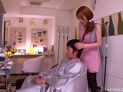 Japanese barber Rin Sakuragi gives a handjob to her client