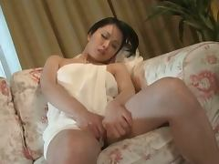 Busty hottie Miki Sato moans loudly while fingering her Japanese cunt
