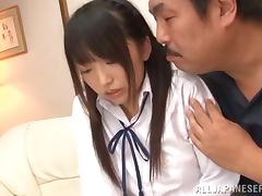 Teen Japanese in school uniform gets pounded hard