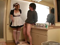 Sexy Japanese housemaid gives a titjob in POV video