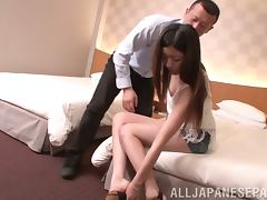 Long haired Japanese girl takes a cock in her hot pussy