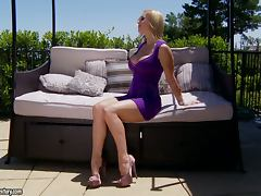 Sizzling Tanya Tate masturbates on the balcony